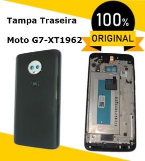 Caixa Traseira Com Moldura Da Tela, Preto, Xt1962, Moto G7 Rear Cover Ônix Sensor Biométrico Original