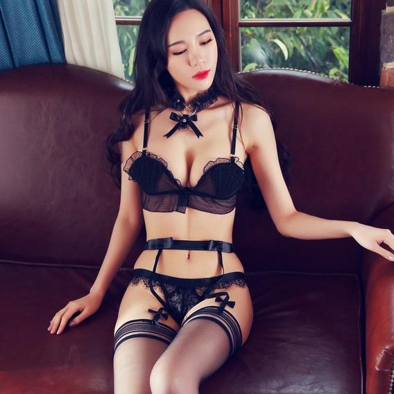 Sexy Conjunto Encaje Transparente Coordinado Erótico Juegos