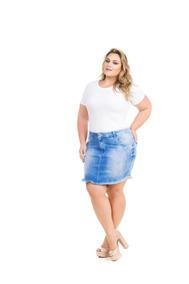 Saia Curta Jeans Com Elastano Lycra Grande Plus Size Saj079