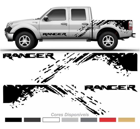 Kit Adesivo Faixas Laterais Emblema Porta Ford Ranger Imp80