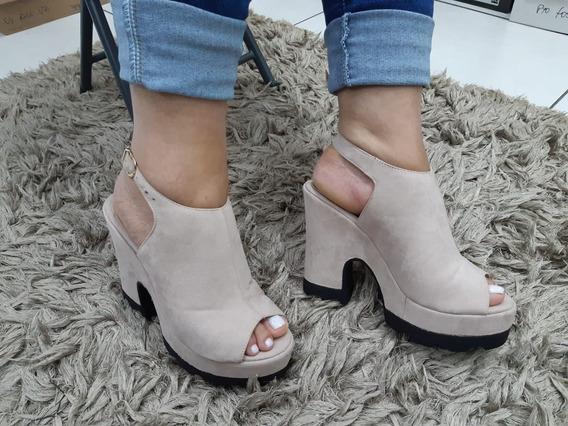Sandália Feminina Ankle Boot Meia Pata Tratorada Salto Alto