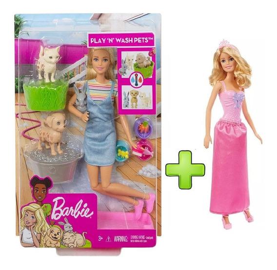 Boneca Barbie Banho De Cachorrinhos + Princesa Rosa Loira