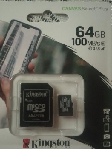 Imagen 1 de 2 de Tarjeta De Memoria Micro Sd Marca Kingston De 64 Gb