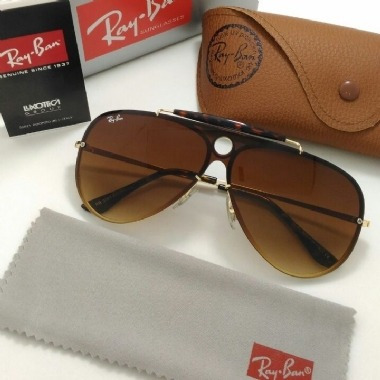 Oculos De Sol Masculino Ray Ban Rb3581n Shooter Marrom Degra