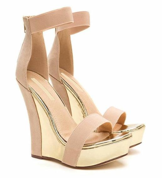 Sapatos Femininos Sandalias Anabela Dourada