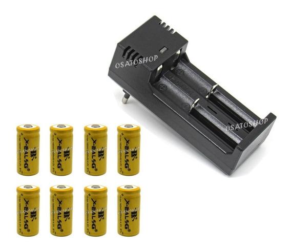 Kit Carregador Duplo + 8 Baterias 16340, Cr123 Recarregável