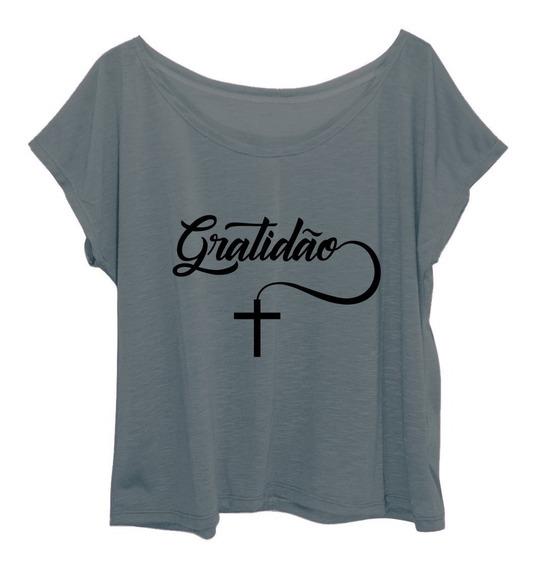 Blusa Blusinha Feminina Plus Size Estampa Fé Gratidão