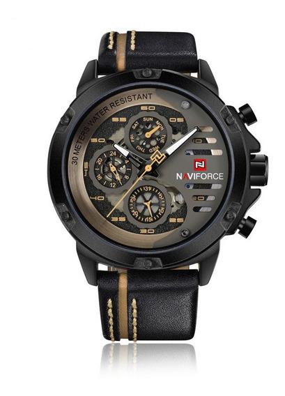 Relógio Masculino 100% Original Naviforce Pulseira Couro