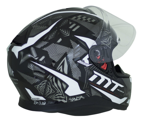 Capacete Mt Helmets Ff102sv Thunder 3 Sv Fg Preto E Branco