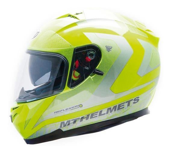 Casco Moto Mt Blade Reflexion Amarillo Fluo Doble Visor