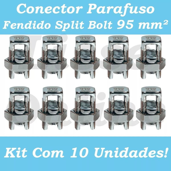 Kit 10pçs Conector Parafuso Fenda Cabos Fios 95mm Split Bolt