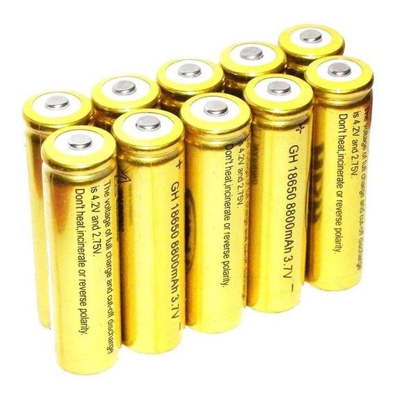 Kit 10 Baterias 18650 Gold 8800mah 4.2v Lanterna Tática Led