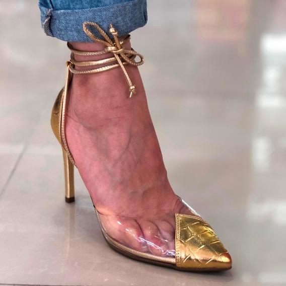 Scarpin Dourado Vinil Amarração Inspired Schutz - Lj Atitude