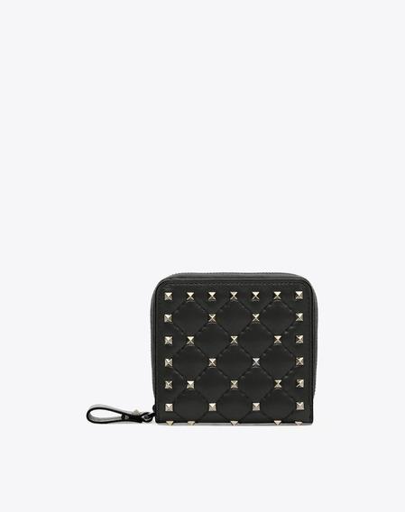 Billetera Valentino Compacta Rockstud Spike Negra Impecable
