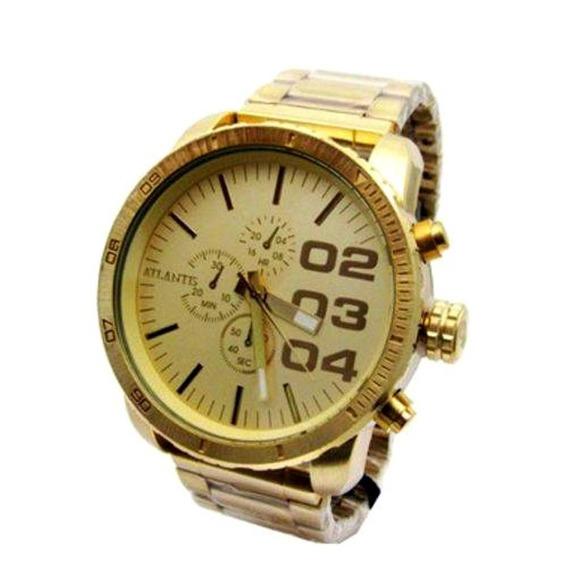 Relógio Masculino Atlantis Dourado A3309 Original Sports
