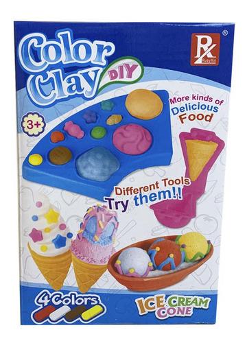 Juego De Masas Color Clay Set De Conos De Helado Full