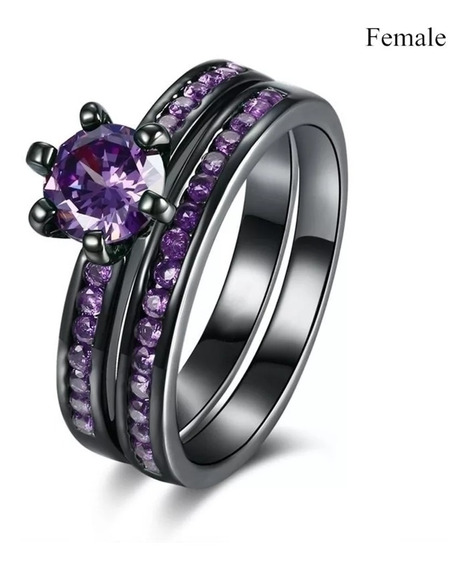 Engagement Rings Purple And Black, Couples Rings