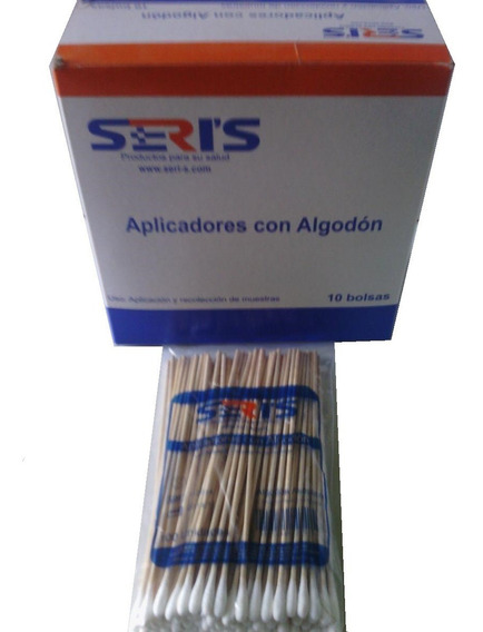 Aplicadores De Madera Con Algodón Marca Seris X100 Unidades