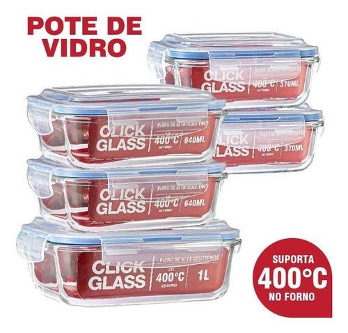 Imagem 1 de 5 de Kit 5 Potes De Vidro 100% Herméticos Qualidade Click Glass