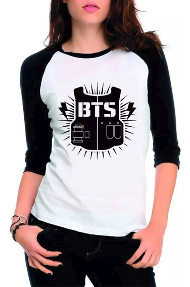 Camisa Camiseta Raglan 3/4 Feminina Kpop Bangtan Boys Bts