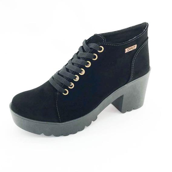 Bota Coturno Quality Shoes Feminina Preta