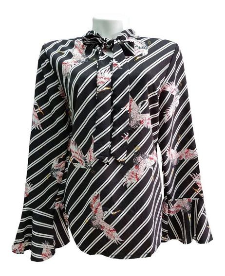 Camisa 3 Botões Feminina Viscose Estampada Floral Manga 3/4