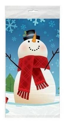 Mantel Joyful Snowman Navideño Plástico Muñeco De Nieve