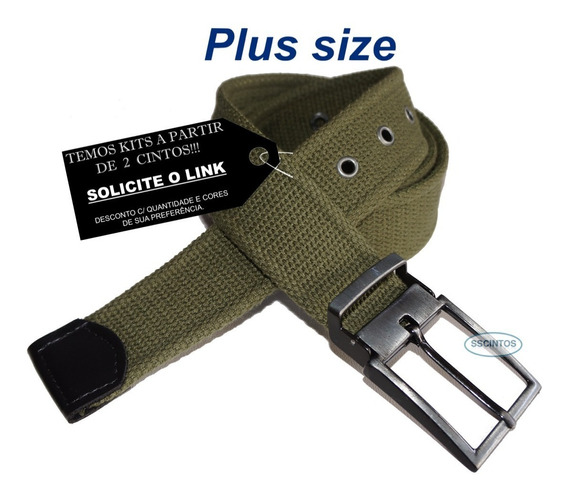 Cinto Plus Size Lona Premium 4cm Fiv C/ Regulagem L49 Pto 02