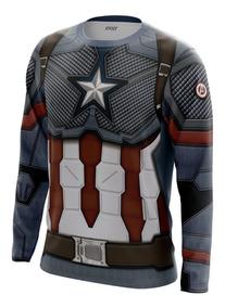 Camiseta Traje Capitão América Os Vingadores Manga Comprida