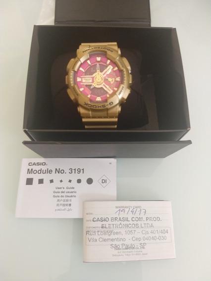 Relógio Casio G-shock Feminino Dourado E Rosa.
