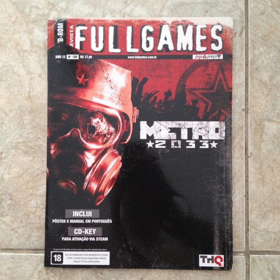 Revista Fullgames Dvd-rom Metro 2033 Pôster E Manual Cd-key
