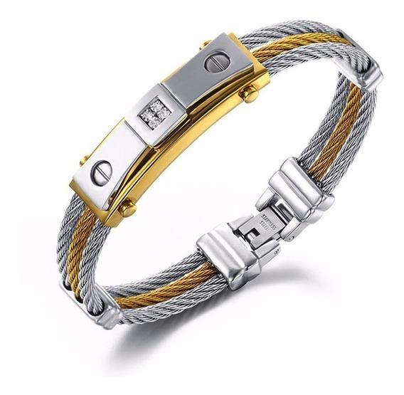 Pulseira Bracelete Masculino Dourado Prata Aço Inoxidável