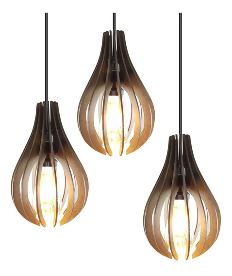 Lustre Luminaria Pendente Rustico Madeira Triplo 1,5m 019tp