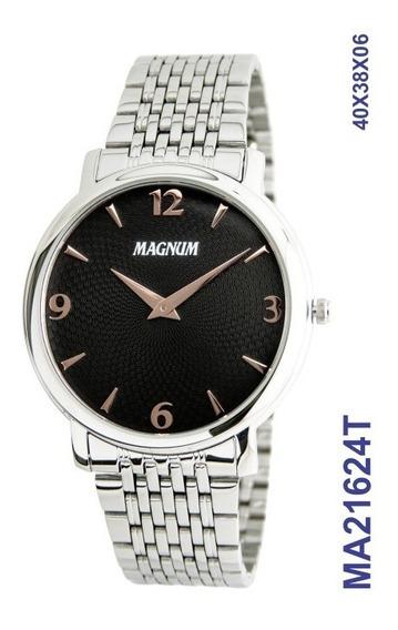 Relógio Masculino Slim Magnum Social Ma21624t Prata