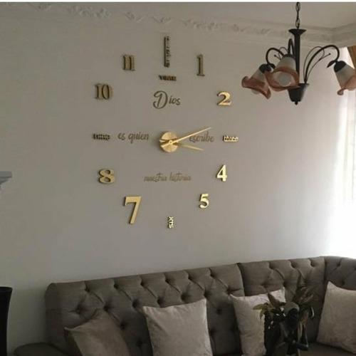 Reloj De Pared 3d Grande + Frase En Vinilo Diseño Moderno