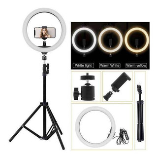 Aro De Luz Led 30cm Usb Foto Video Maquillaje + Tripode 2mt