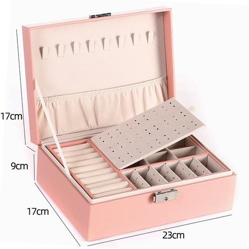 Imagen 1 de 6 de Joyero De Cuero Doble Caja De Regalo Perfecta Con Cerradura