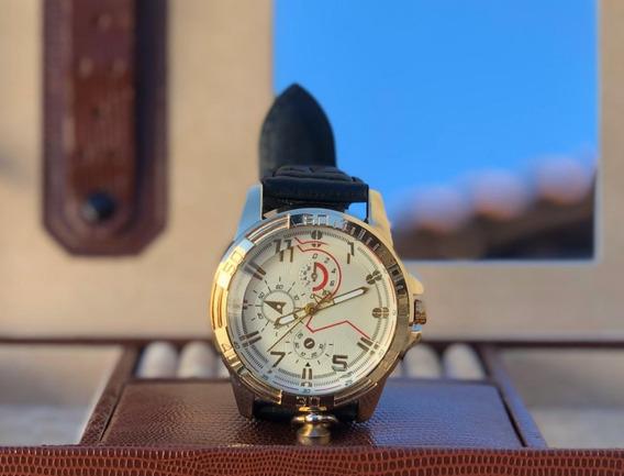 Relógio Luxo Masculino Couro Quartz