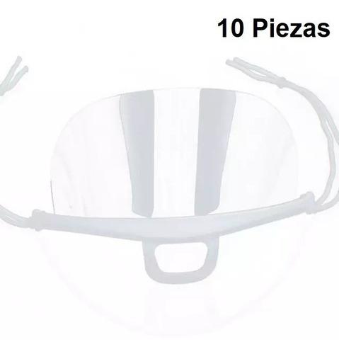 10 Paq Cubrebocas Mascarillas Reutilizables Plástico Lavable