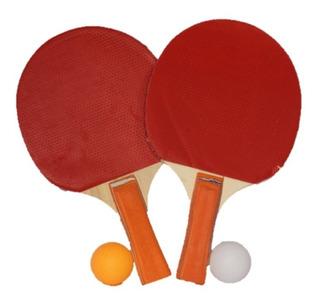 Set Raquetas Ping Pong Tenis De Mesa Rojo Negra