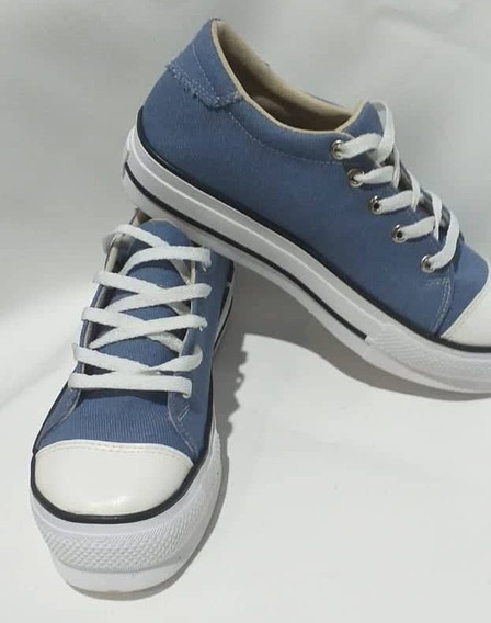 Zapatillas Color Celeste De Lona - Suela Alta