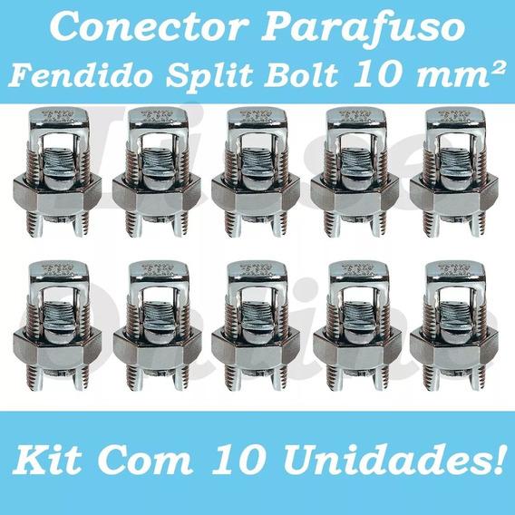 Kit 10 Conector Parafuso Fendido Cabos Fios 10mm Split Bolt