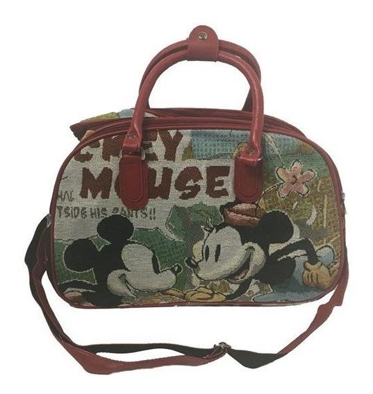 Bolsa Mala De Mão Mickey Colorido Viagem Alça Vermelha