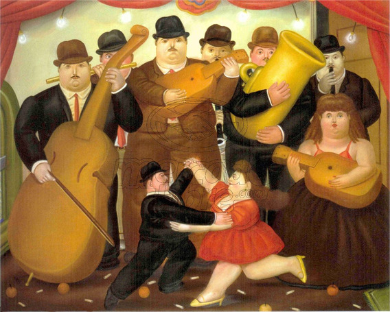 Lienzo Tela Canva Orquesta De Músicos Fernando Botero 64x80