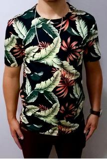 Camiseta Florida Masculina, Camisetas Estampada Floral Top