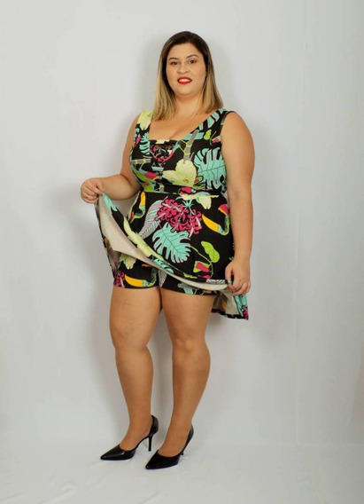 Vestido Com Short Plus Size