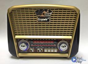 Rádio Portatil Solar Retrô Am/fm Recarregável Bluetooth Usb