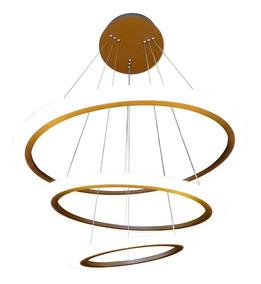 Lustre Led Metal Saturn Três Anéis Pendentes Três Níveis Luz