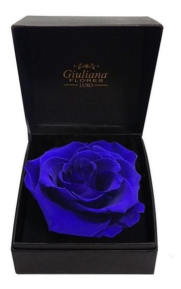 Caixa Premium Com Rosa Encantada Azul Giuliana Flores