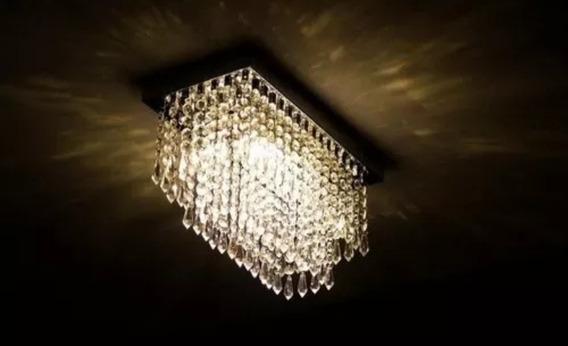 Lustre De Cristal Retangular Base Inox Brilhante